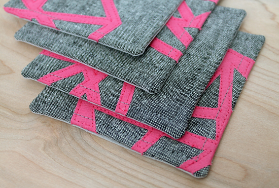 Geometric Appliqued Coasters by Jessee M for Silhouette America {an Art School Dropout's life}