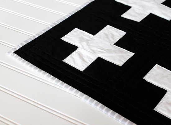 $200.00  Rows of Plus Signs Quilt - Black, White & Mustard {an Art School Dropout's life}