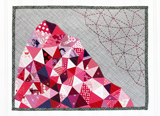 A Fragmented Mountain Mini Quilt {an Art School Dropout's life} #epp english paper piecing and Hand quilting
