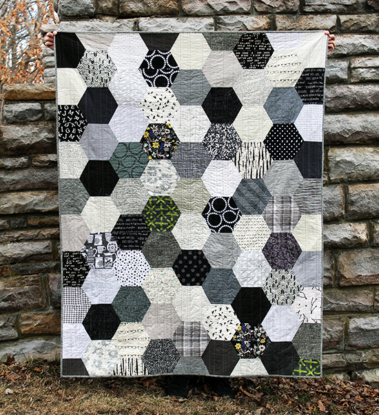 the black white gray half hexie quilt an art school