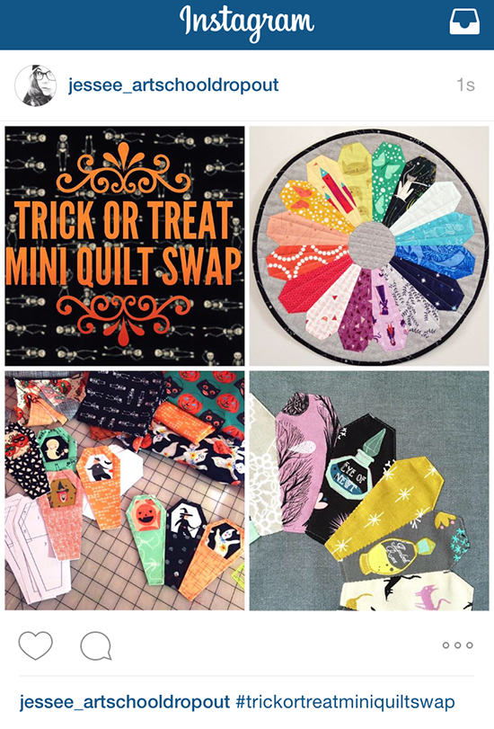 #trickortreatminiquiltswap / Jessee Maloney a tutorial on making an INstagram mosaic {an Art School Dropout's life}