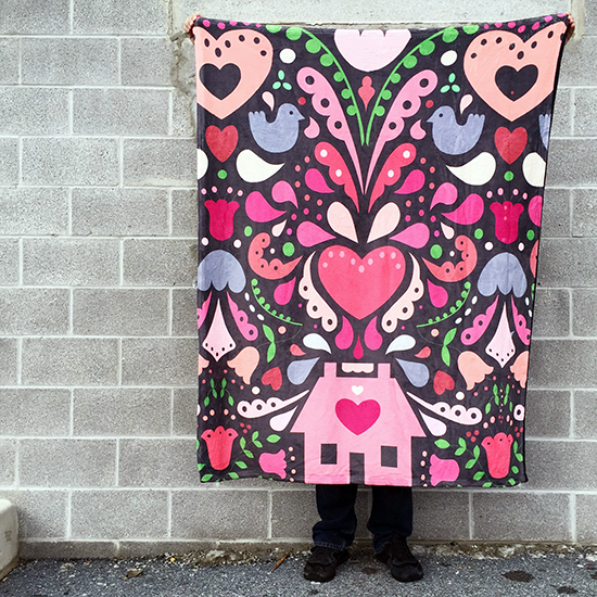 Bursting at the Seams with Love Fleece Blanket by Jessee M {an Art School Dropout's life}
