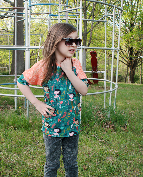 Mermaids & Triangles Recess Raglan with Sprout Patterns {an Art School Dropout's life}