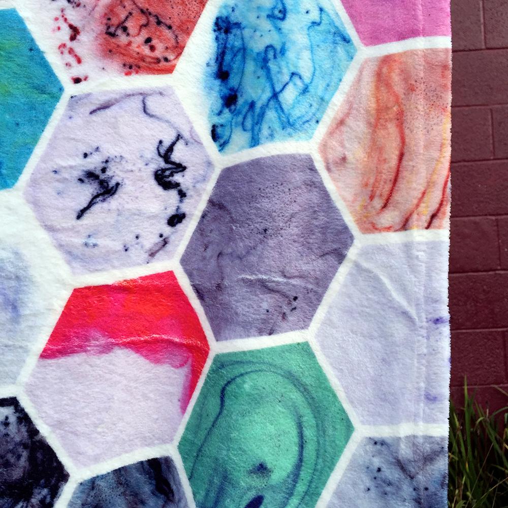 Marbled Hexies Fleece Blanket ; Custom Zazzle {an Art School Dropout's life}